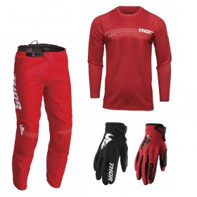Thor Sector Combo Minimal rot Hose Jersey Handschuhe