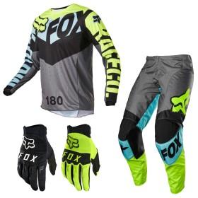 FOX 180 TRICE Combo blau neon Hose Shirt Handschuhe