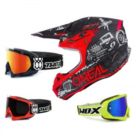 Oneal 5Series Crosshelm HR schwarz rot mit TWO-X Race Brille