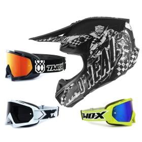 Oneal 5Series Crosshelm Rider schwarz weiss mit TWO-X Race Brille