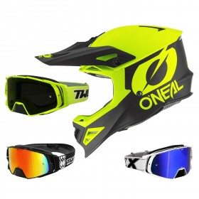 Oneal 8Series 2T Crosshelm neon gelb mit TWO-X Rocket Crossbrille