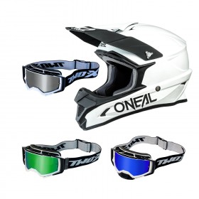 Oneal 1Series Crosshelm Solid weiss mit TWO-X Atom Brille