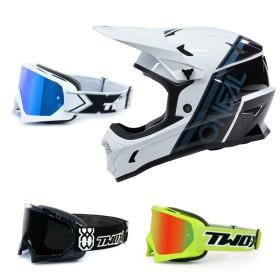 Oneal Sonus Split MTB Helm weiss mit TWO-X Race Brille