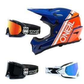Oneal Sonus Split MTB Helm blau mit TWO-X Race Brille