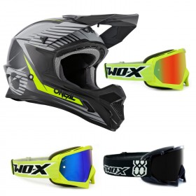 Oneal 1Series Crosshelm Stream grau neon mit TWO-X Race Brille