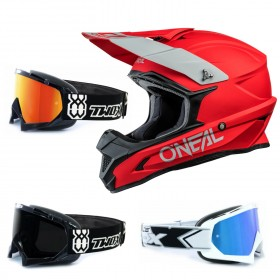 Oneal 1Series Crosshelm Solid rot mit TWO-X Race Brille