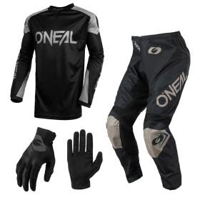 Oneal Matrix Ridewear Combo 21 schwarz Crosshose Jersey Handschuhe
