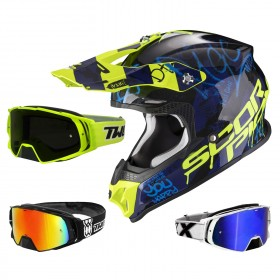 Scorpion VX-16 Air Crosshelm Oratio schwarz neon mit TWO-X Rocket Crossbrille