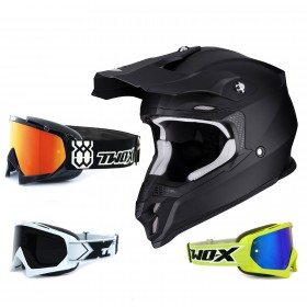 Scorpion VX-16 Air Crosshelm Solid matt schwarz inkl. TWO-X Race Crossbrille in Schwarz