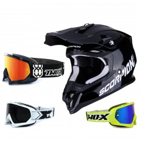 Scorpion VX-16 Air Crosshelm Solid schwarz inkl. TWO-X Race Crossbrille in Schwarz