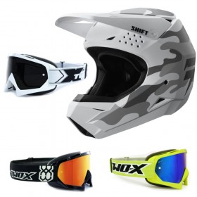 Shift Whit3 MX Helm camo white mit TWO-X Race Crossbrille
