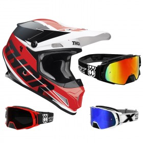 Thor Sector Crosshelm Fader rot schwarz inkl. TWO-X Rocket Crossbrille