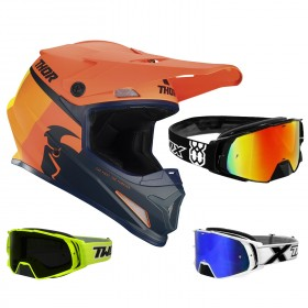 Thor Sector Crosshelm Racer orange blau inkl. TWO-X Rocket Crossbrille
