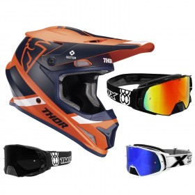 Thor Sector MIPS Crosshelm Split orange blau inkl. TWO-X Rocket Crossbrille