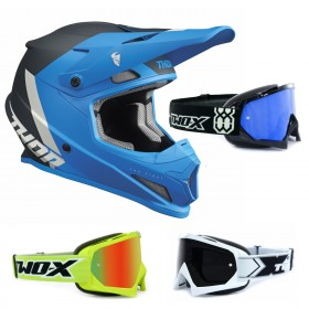 Thor Sector Crosshelm CHEV blau inkl. TWO-X Race Crossbrille
