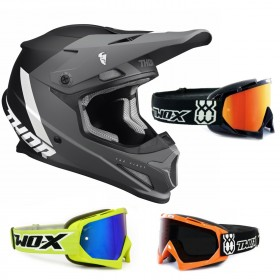 Thor Sector Crosshelm CHEV schwarz inkl. TWO-X Race Crossbrille