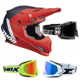 Thor Sector Crosshelm CHEV rot inkl. TWO-X Race Crossbrille
