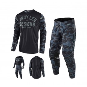 Troy Lee Designs GP Cosmic Combo Jersey Crosshose camo grau