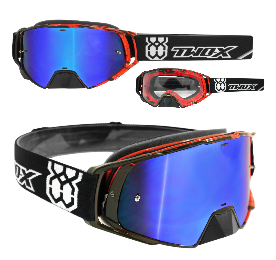 Two x fus e lunettes de moto cross craser mx enduro rouge for Miroir rouge